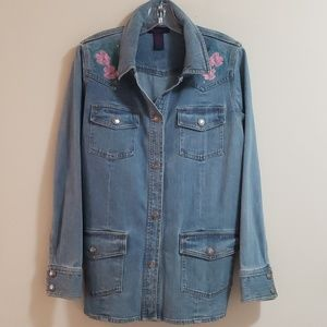 Embroidered Denim Jacket, Sz M